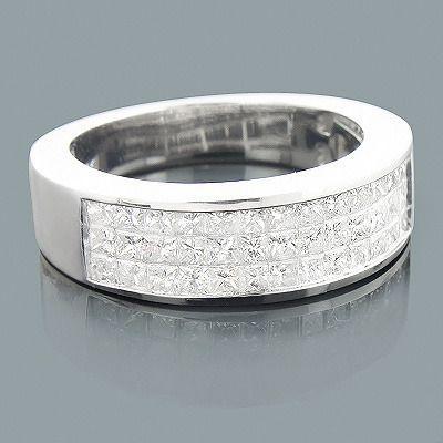 Mens Princess Cut Diamond Wedding Ring 1.92ct 14K
