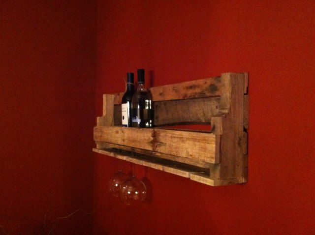 Pallet Wine Rack – Pallet Glass Holder.  Simple but brilliant