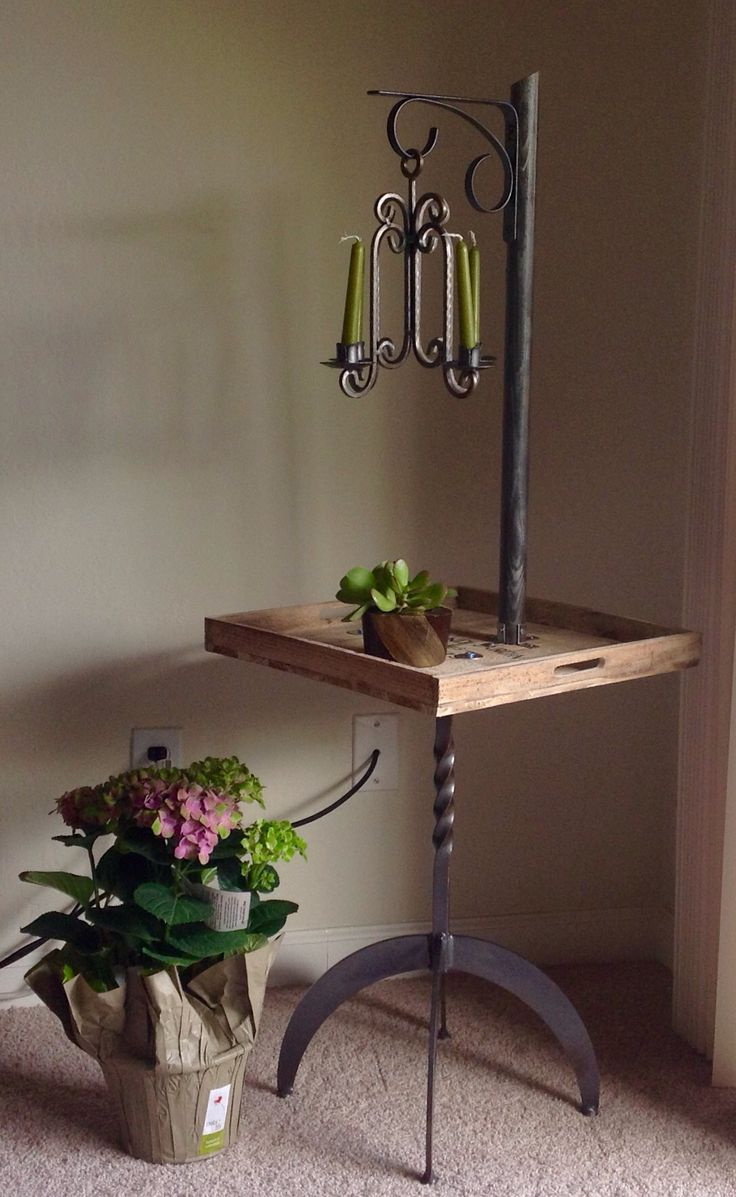 #Garage Sale#Flip #Industrial Metal legs#Wood tray#Candle holder