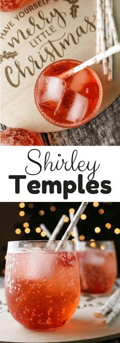 Shirley Temples #holidaydrink Non alcoholic beverage with ginger ale and grenadine