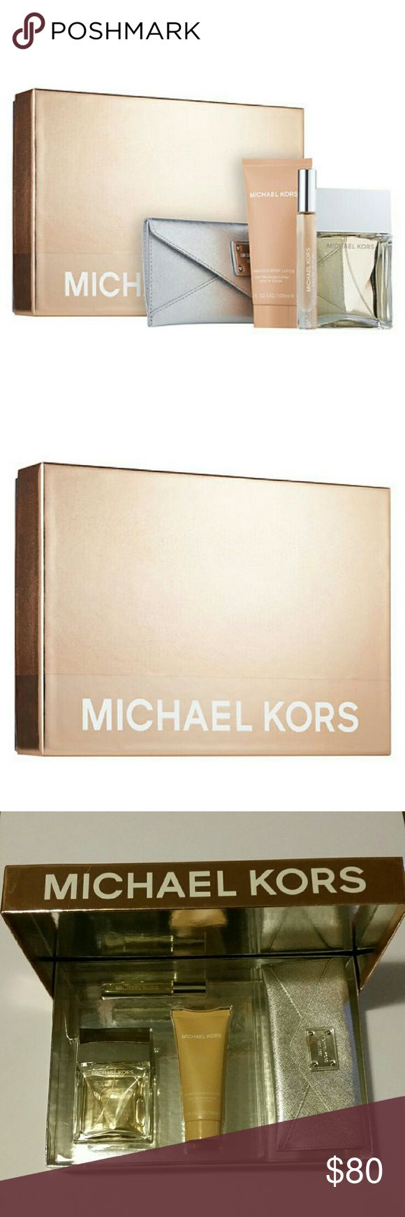 Michael Kors Signature Gift Set Glamorous yet easy; rich yet relaxed-the Michael Kors Signature Eau de Parfum is elegance at ease. Drawn from travels to London and Shanghai, St. Tropez and Capri, they captured a blend  that in bodies this.   Set includes: Eau de Parfum Spray, 3.4 oz Eau de Parfum Rollerball, 0.34 oz Fabulous Body Lotion, 3.4 oz Cosmetic case Michael Kors Other