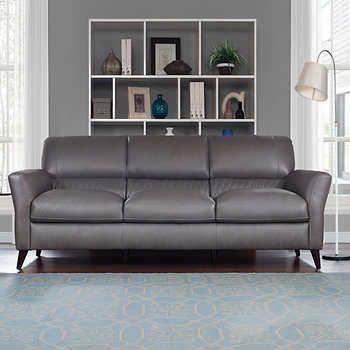 Costco.ca Natuzzi Hampton Grey Top Grain Leather Sofa | Seating ...