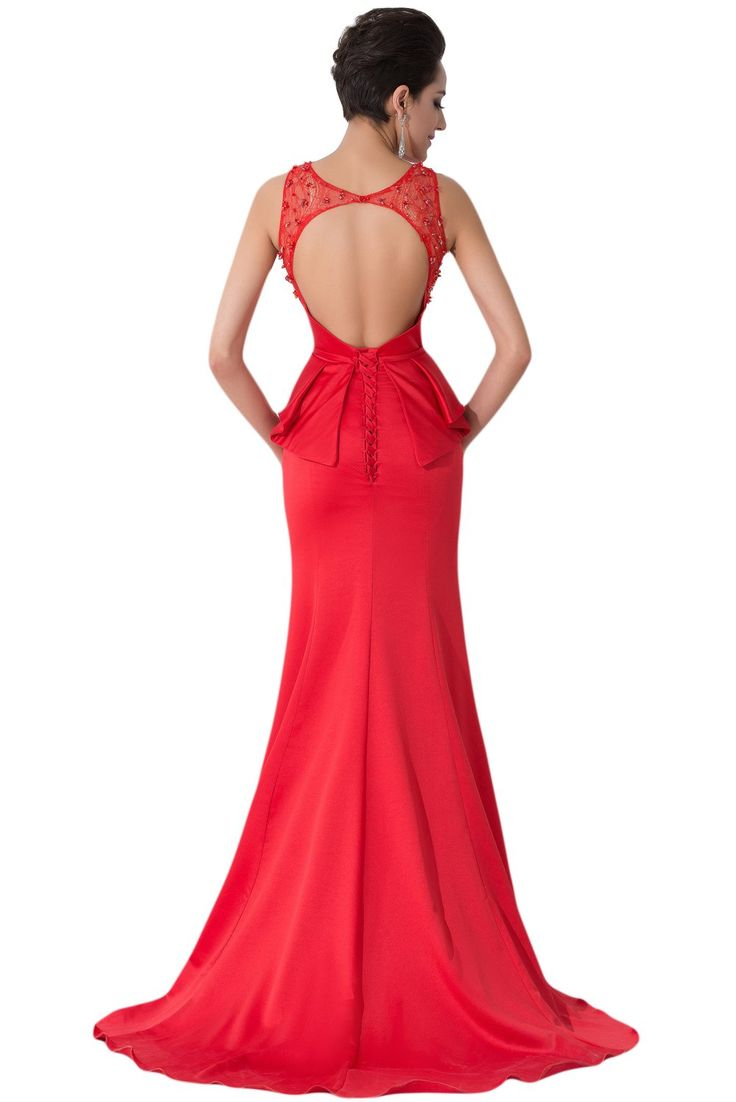 Amazon.com: Sunvary Red Satin and Lace Mermaid Evening Prom Gowns for Woman 2015: Clothing