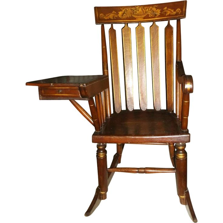 antique hitchcock style rocker writing desk rocking chair