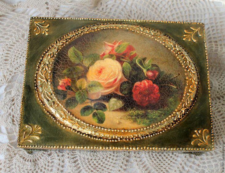 """Купить Шкатулка """"Букет роз"""" - разноцветный, кракелюр, золотой орнамент, золочение, шкатулка с медальоном"""