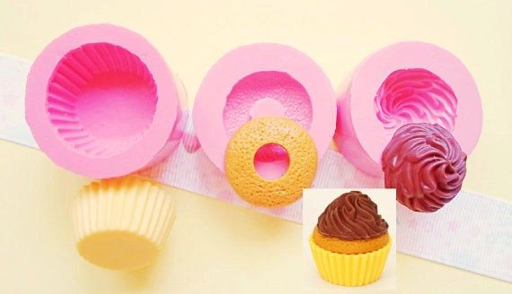 30mm 3D Cupcake Flexible Silicone Mold - Decoden Kawaii Sweets Resin Fimo Polymer Clay Sculpey Wax Soap Fondant Cabochon on Etsy, $9.15