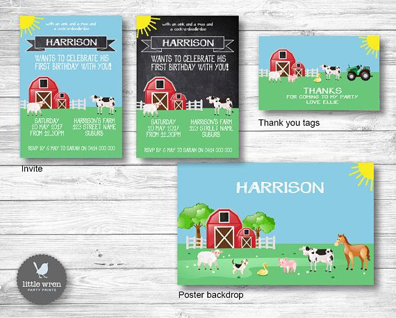 Farmyard Barnyard Birthday Party ideas Invitation Invite drink water bottle wrappers chocolate candy wrapper banner thank you tags cupcake toppers