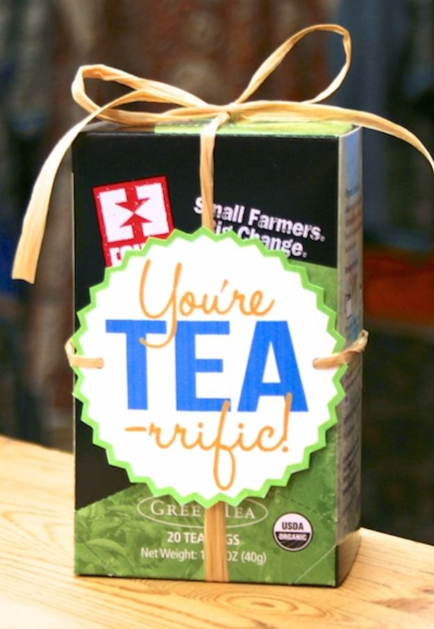 DIY Gift for the Office - You're Tea-rrific DIY Gift - DIY Gift Ideas for Your Boss and Coworkers - Cheap and Quick Presents to Make for Office Parties, Secret Santa Gifts - Cool Mason Jar Ideas, Creative Gift Baskets and Easy Office Christmas Presents http://diyjoy.com/diy-gifts-office