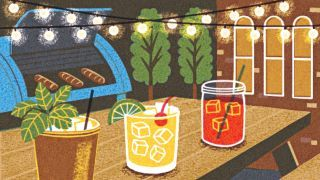 One recent afternoon, people at picnic tables sampled honey moonshine (flavored with honeycombs from the Brooklyn Grange's apiaries) and bitter chocolate whiskey (infused with Mast Brothers' cacao husks).  http://nyr.kr/1HbzpW7 (Illustration by Boyoun Kim)