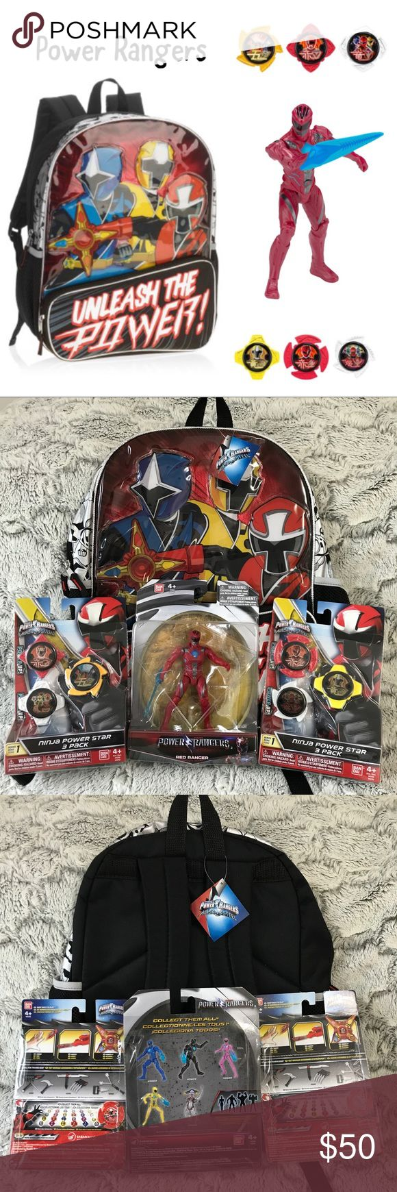 💫NWT🍁fall boys power Rangers gift set🎁 New Boys Power Ranger gift Set includes: 1 Backpack, 1  Red Ranger Action Hero and 2 3packs of Ninja power Star.  Brand new w Tags and in Box.  Priced to sell... do not low ball.  Bundle to save more! Ban Dai Accessories