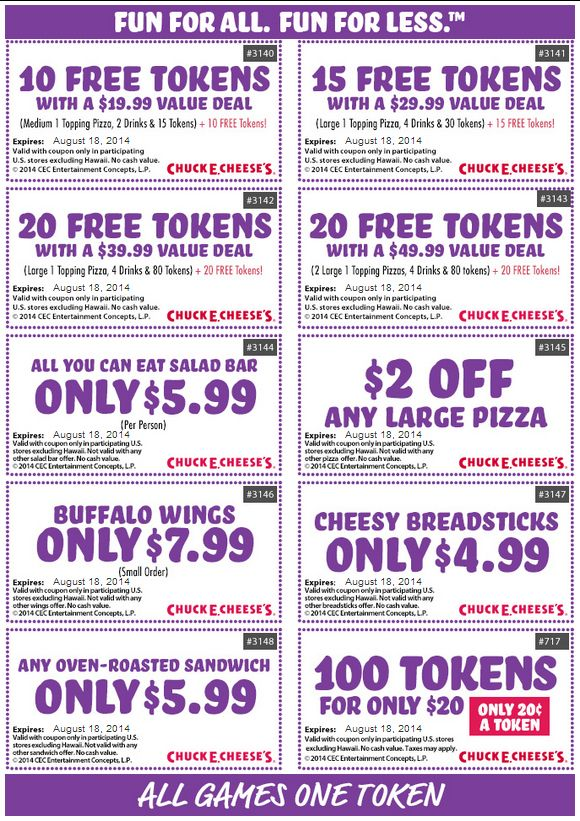 Chuck e cheese coupons for your phone
