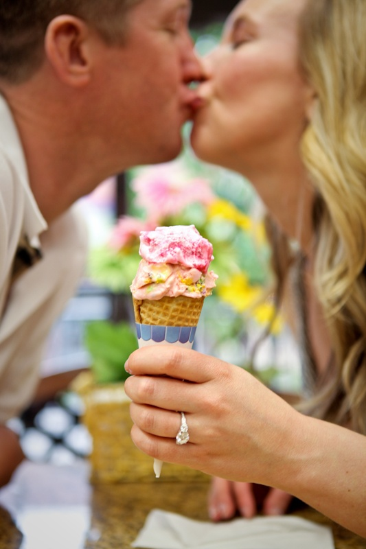 Engagement photo at ice cream parlor - cute!