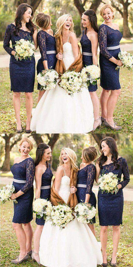 A Line One Shoulder Lace Navy Blue Long Sleeves Short Bridesmaid Dress Navy Blue Bridesmaid Dresses Lace Long Sleeve Bridesmaid Dress Short Bridesmaid Dresses