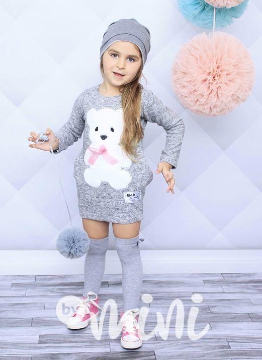Méďové šaty grey - By Mini - moderní oblečení pro děti