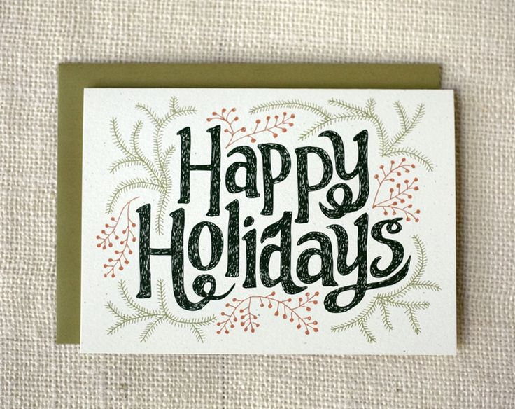 """Happy Holidays Greeting Card - Blank inside - Size: 5"""" x 7"""" - Envelopes: olive green -Paper: 80# recycled, speckled cardstock -Packaging: cellophane sleeve"""