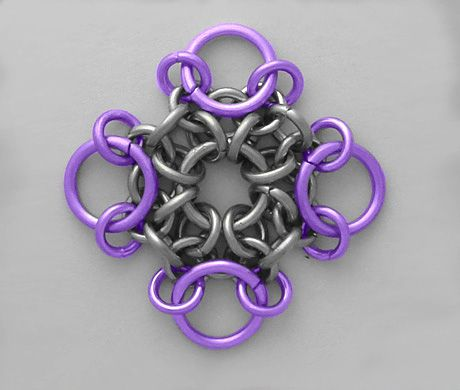 snowflake chainmaile #tutorial. Can be linked together to make a medallion of sorts.