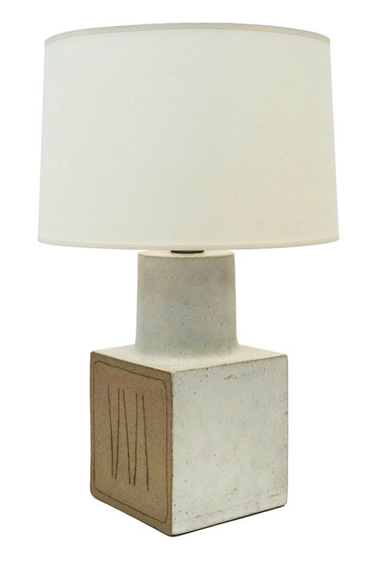 white square ceramic lamp base by bruno gambone italy circa