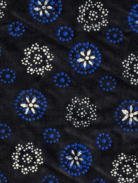 Dutch textiles decorated with dots produced by an inked nail head, Staphorster stipwerk.
