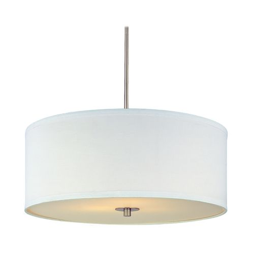 Design Classics Lighting Modern Drum Pendant Light with White Shade in Satin Nickel Finish | DCL 6528-09 SH7566 KIT | Destination Lighting
