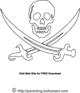 Pirate Flag Coloring Page Printable Jolly Roger Skull And Swords Kids Craft Print Color Sheet