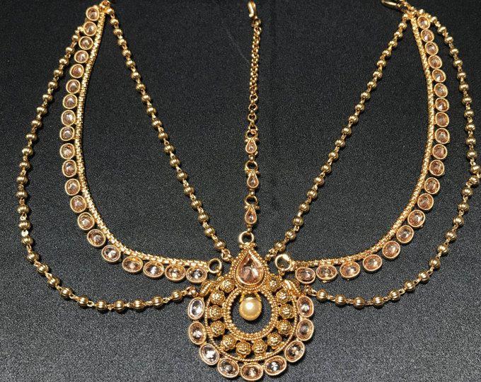 Kundan Bridal Tikka - Kundan Jewelry - Indian Jewelry - Indian Tikka - Bollywood Jewelry - Temple Bridal Tikka - Indian Wedding - Pakistani