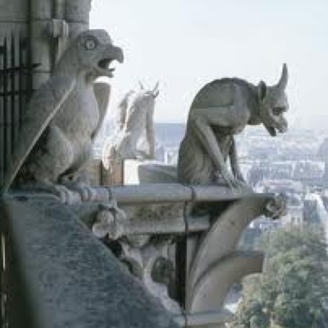 Another perspective of gargoyles at Notre Dame