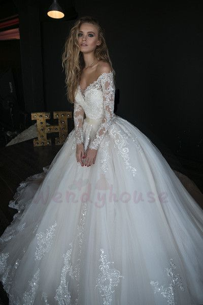 Ball Gown Long Sleeves Appliques Long Bridal Dress