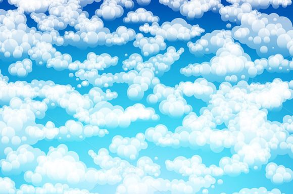 Blue sky with clouds. Vector by Rommeo79 on @creativemarket