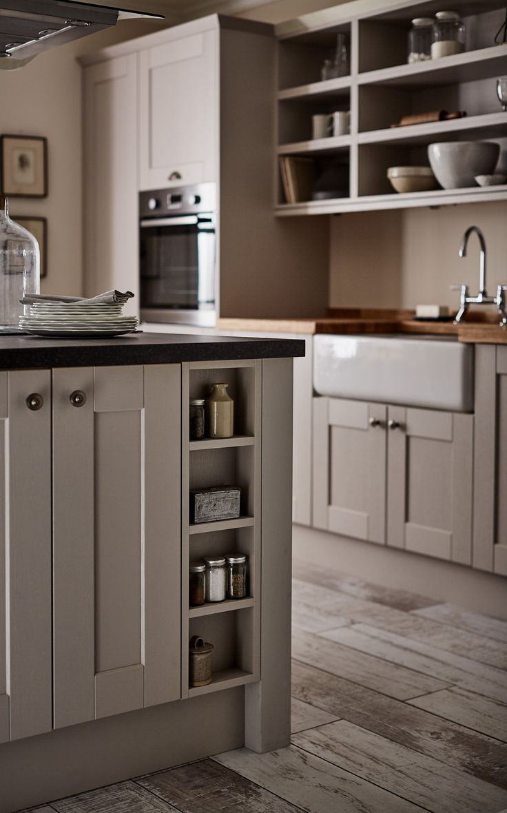This beautiful shaker style kitchen gives your kitchen that perfect traditional look complimented by the Belfast sink and wooden worktop.  Howdens has a wide range of shaker kitchen ideas and designs. Get inspired for your new kitchen.  This is the Fairford Cashmere Kitchen range.