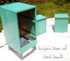 File Cabinet Makeover-spray your file cabinets a bright color like this