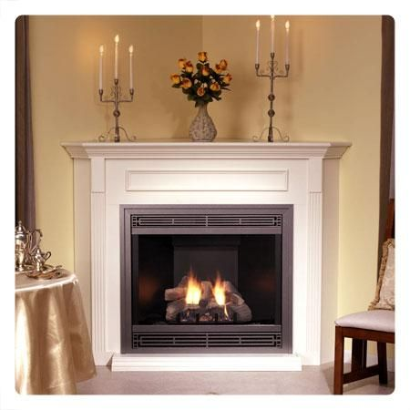 Corner Direct-Vent Tahoe Deluxe 32 Fireplace COMPLETE SYSTEM in Assorted Finishes with Remote Option :: Factory Direct Fireplaces :: Ventless Gas Fireplaces