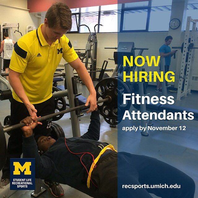 If you like being in a fitness environment or engaging and educating others, then being a Fitness Attendant is right up your alley! Apply by Nov. 12.