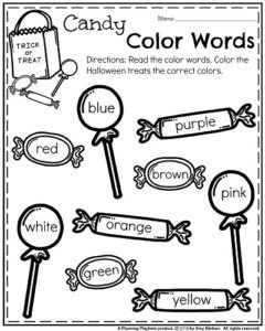 October Kindergarten Worksheets - Candy Color Words