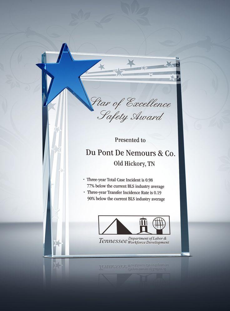 Safety Star Award Plaque & Sample Wording Ideas | Award ...