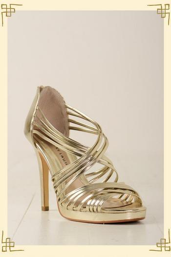 gold strappy heels - anjuli's wedding