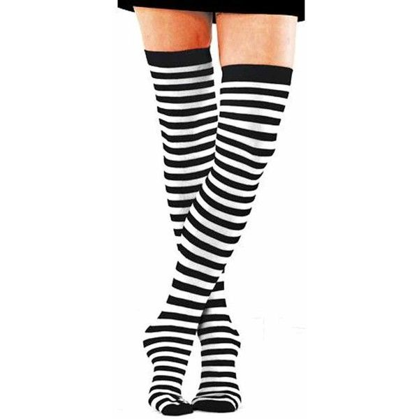 Foot Traffic Striped Black & White Thigh High Stocking Socks ($12) ❤ liked on Polyvore featuring intimates, hosiery, socks, tights, accessories, stockings, legs, black and white stripe socks, black white socks and thigh high socks