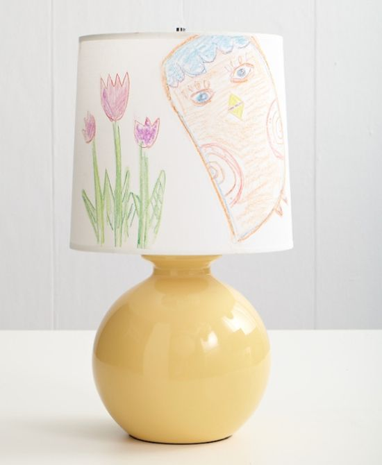 Cool Lamp Shade Ideas  Kid's bedroom idea: Use parchment paper for your child to draw his/her designs. Cut out designs and adhere to lampshade.   from: kidskubby.com
