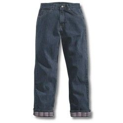 Carhartt Women's Relaxed Fit Straight Leg Flannel Lined Jeans - Antique Darkstone
