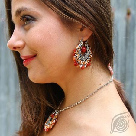earrings Yunnan Pu-er; filigree, coral, fresh water pearl, cornelian, rocail; by Nady; photo by Monika Hulova