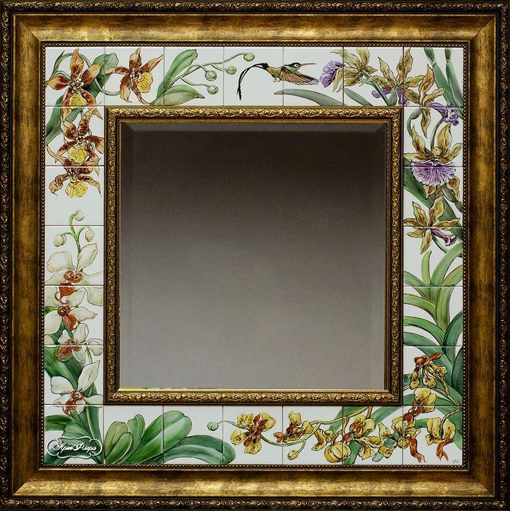 "Зеркало Орхидеи и калибри"" 90 х 90 см , 23000 рублей"