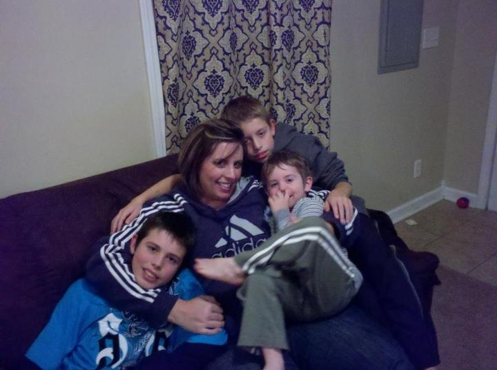 Dana and her 3 sons: Brandon, Dylan and Ethan. (2012)