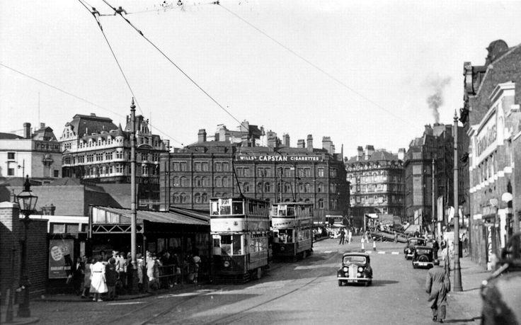 Millard Tram in Birmingham's Navigation Street, in 1952.