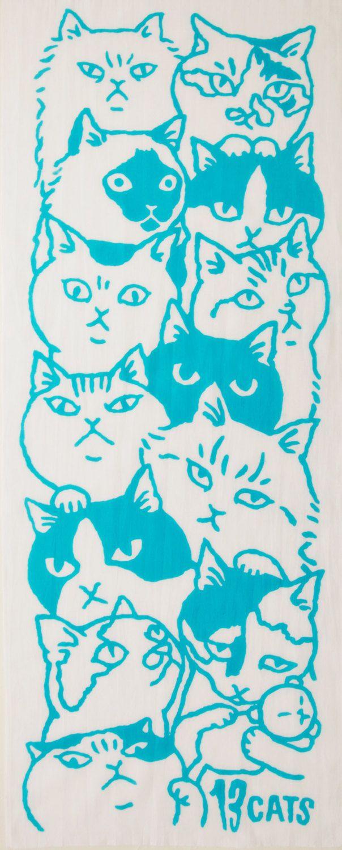 Japanese tenugui cat fabric blue cat maneki by japanmomijidesigns