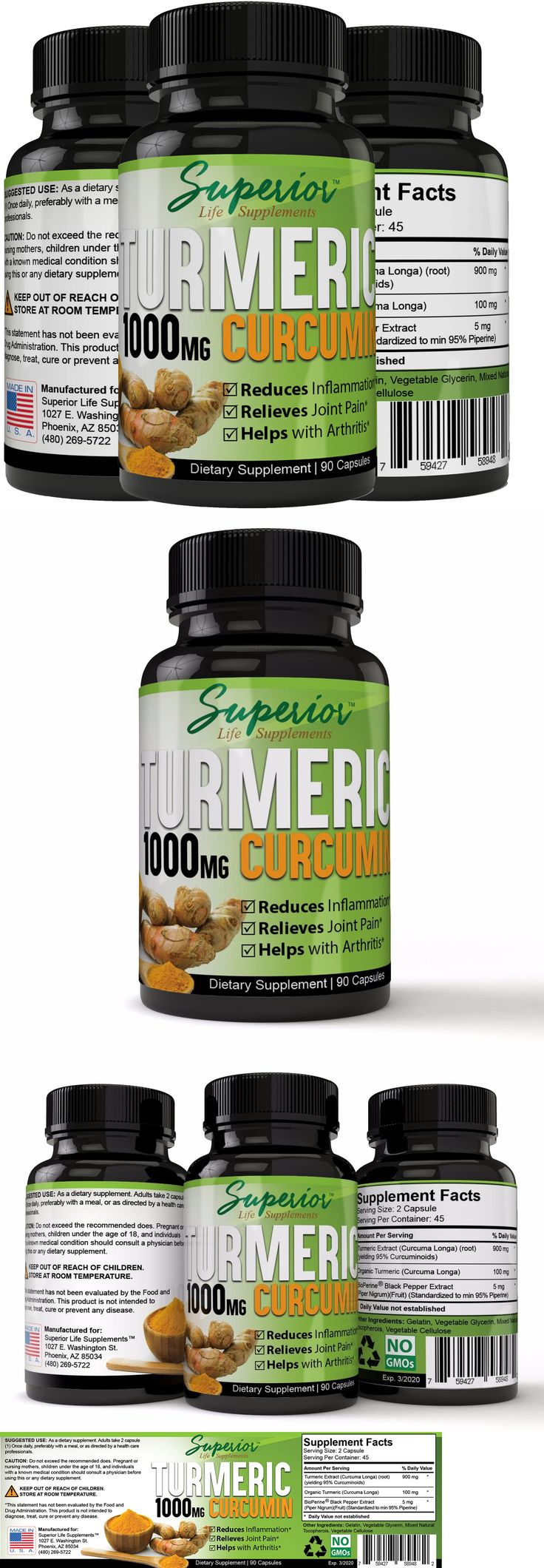 Herbs and Botanicals: Turmeric Curcumin Extract Supplement With Bioperine 1000Mg Serving 100% Natural -> BUY IT NOW ONLY: $54.95 on eBay!