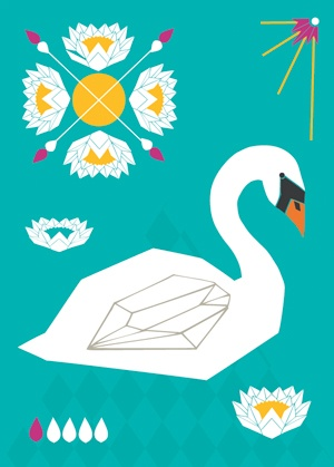 Folklore swan postcard illustration #swan #teresebast #water