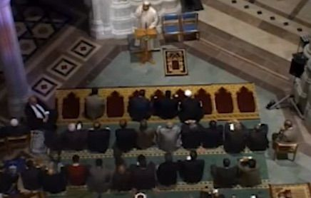 shocking Video: muslim leaders issue islamic call to pray from pulpit of Christian Cathedral by BB 11-18-14 obama once told NY Times islamic call to prayer was one 'of prettiest sounds on earth' DATE WAS NOT ACCIDENTAL EXACTLY 100 YEARS EARLIER TO DAY ANDREW BOSTOM NOTES ottoman sheikh ul islam issued fatwas called for mass slaughter of Christians.