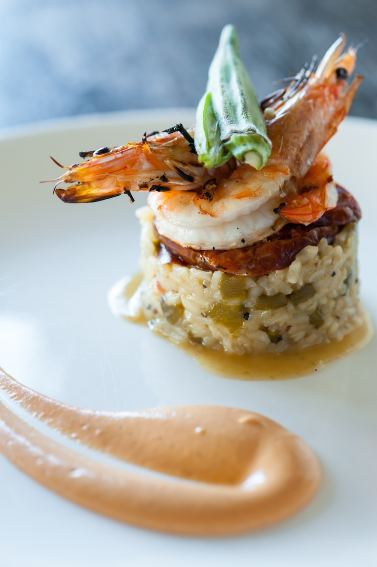 gumbo :: New Caledonia prawns, andouille sausage, roasted green pepper & rock shrimp risotto, smoked tomato emulsion