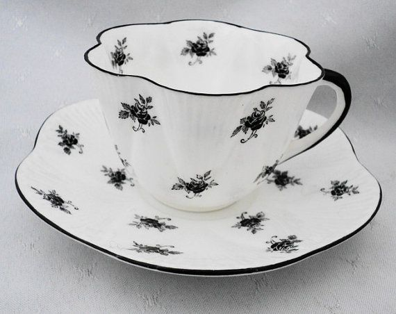 Shelley black dainty rose spray Tea cup and by simplytclubhouse