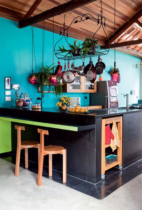 bright Bold Colourful kitchen,love wall, pot rack, under cabinets butcher block.