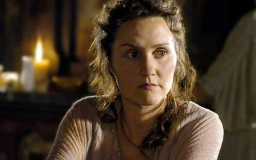 Esther Hall aka Lyde from the HBO series Rome.  She protects her nieces and nephew at all costs.